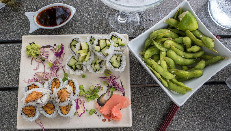 Cucumber rolls, sweet potato rolls, edamame, vegan food at Midori Sushi in Grand Bend, Ontario.