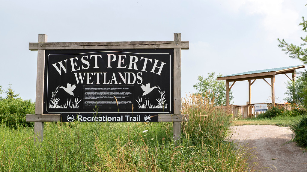 West Perth Wetlands recreational trail sign in Mitchell, Ontario