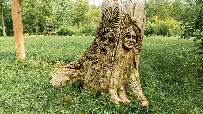 Wooden stump carved with art