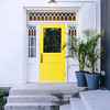 Yellow door at the Drake Devonshire Inn in the town of Wellington in Prince Edward County, Ontario, Canada.