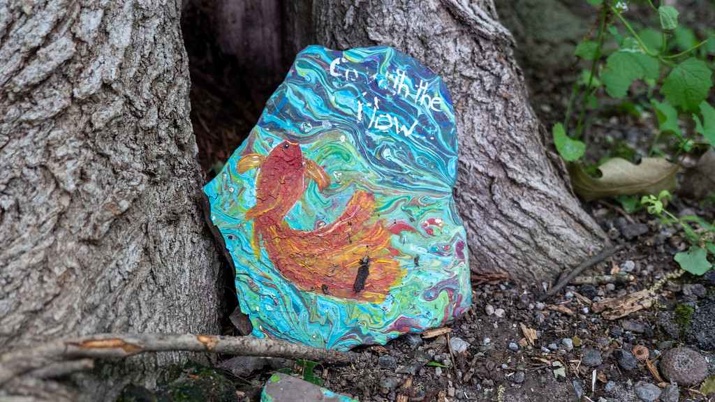 Painted rocks on the hiking trail