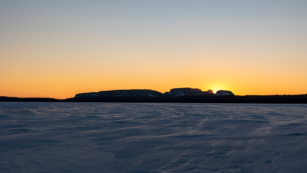 Sunsets at Sleeping Giant Provincial Park in winter