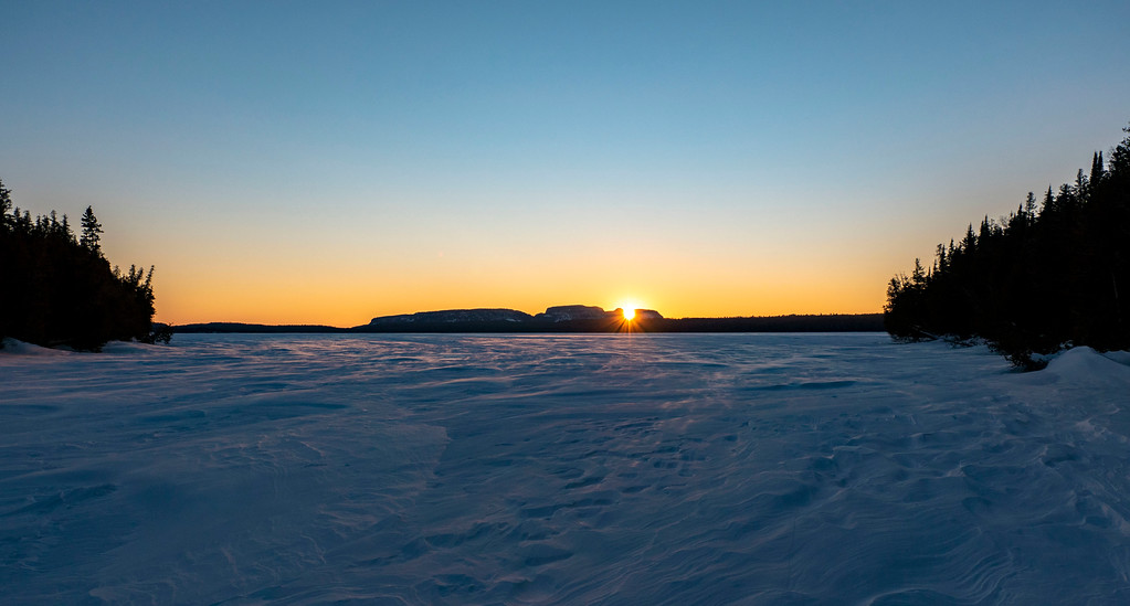 Watching the sunset at Sleeping Giant Provincial Park at Mary Louise Lake in winter