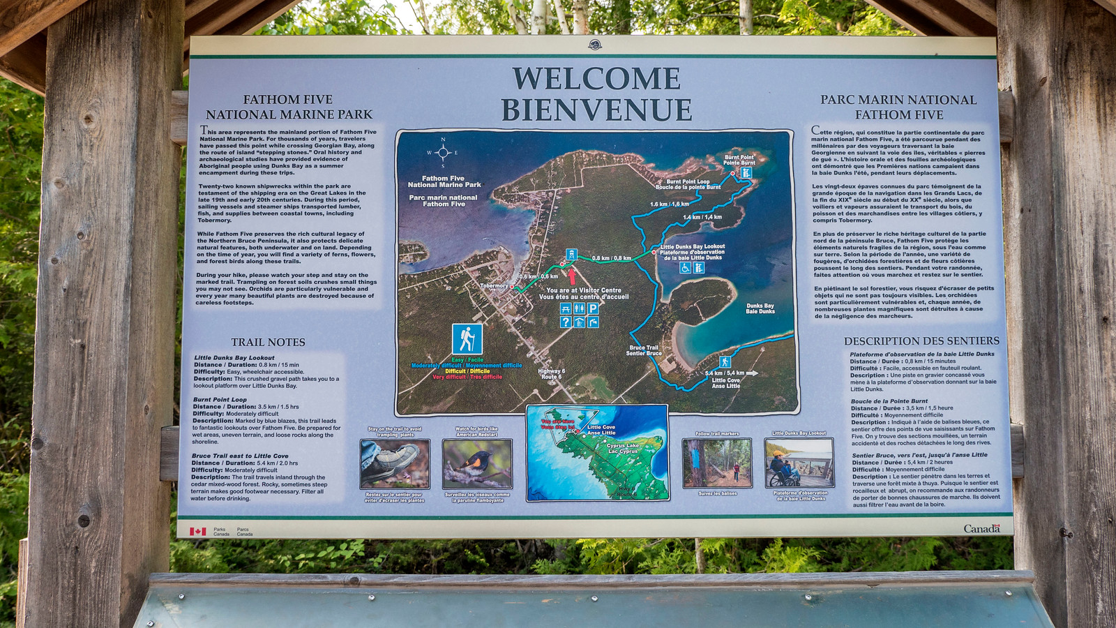 Fathom Five National Marine Park Map. Best Bruce Peninsula Hiking Trails for Nature Lovers.