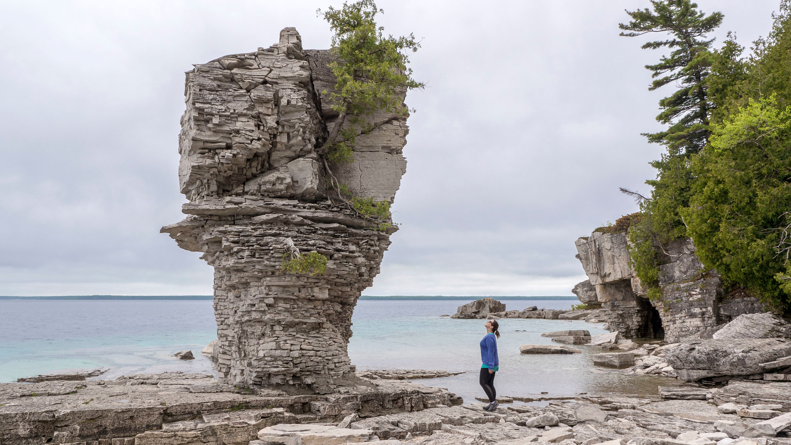 Flowerpot rock formation at Flowerpot Island near Tobermory, Ontario. Best Bruce Peninsula Hiking Trails for Nature Lovers