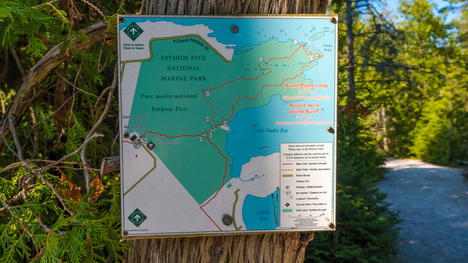 Hiking map to Little Dunks Lookout. Best Bruce Peninsula Hiking Trails for Nature Lovers