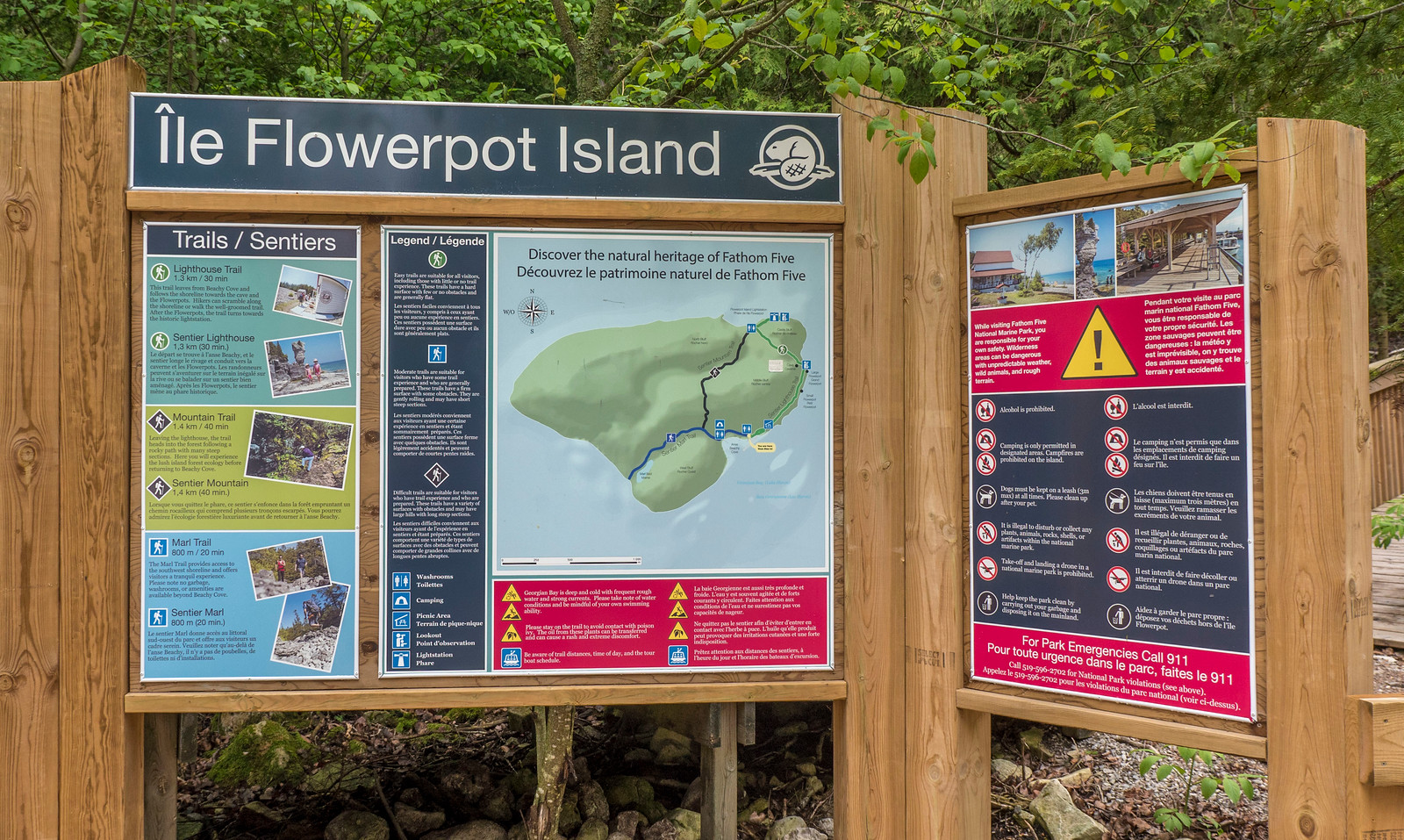 Flowerpot Island map. Best Bruce Peninsula Hiking Trails for Nature Lovers.