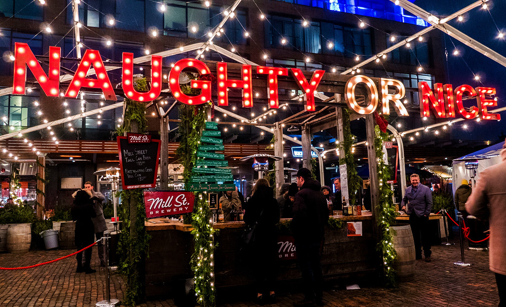Naughty or Nice? The Toronto Christmas Market Warming Lounge and bar for mulled wine and other beverages.