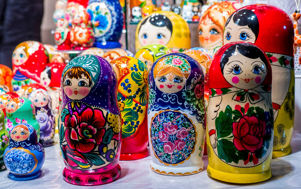 Nesting dolls at the Toronto Christmas Market - Wooden booths with gifts and Christmas ornaments in Toronto