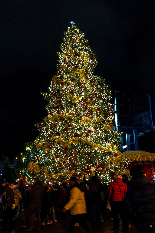 Toronto Christmas Market tree in the Distillery District