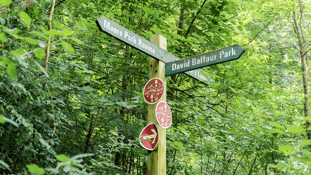 Sign for Moore Park Ravine and David Balfour Park