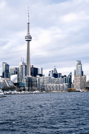 View on the city of Toronto from the ferry between the downtown core and the Billy Bishop Toronto City Airport.