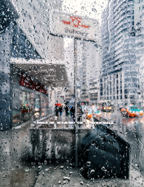 Rainy day in downtown Toronto.