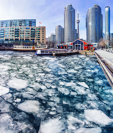 Ice on the lake at Harbourfront in Toronto