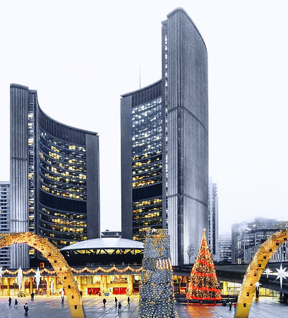 Holiday decoration at Nathan Phillips Square in downtown Toronto