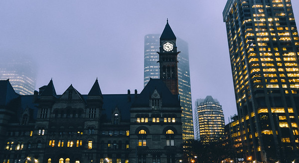 The clock tower of the Old City Hall in Toronto.