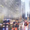 Rainy and foggy day in downtown Toronto.