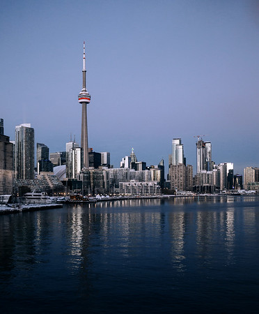 View on the city of Toronto from Polson Pier.