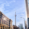CN Tower and the Dominion Public Building on Front Street in Toronto.