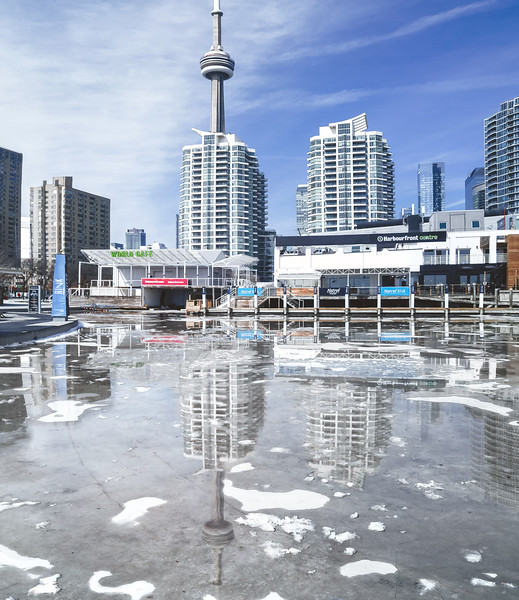 Snow melting at Toronto's Harbourfront.