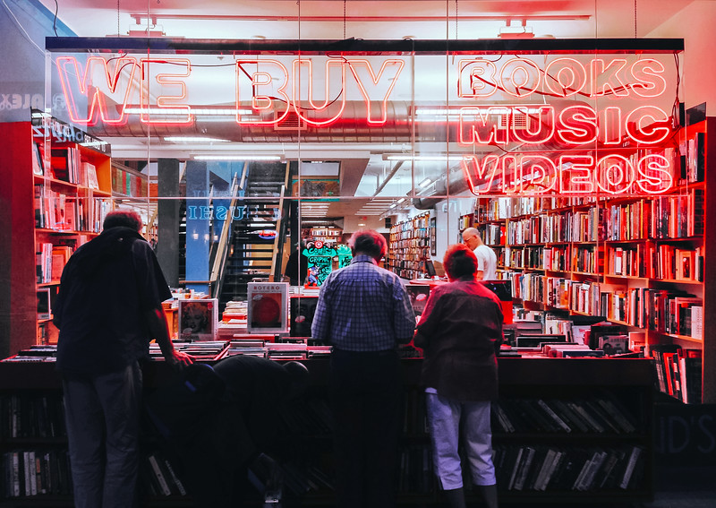 People browsing used books at BMV Books in The Annex, a Toronto neighbourhood.
