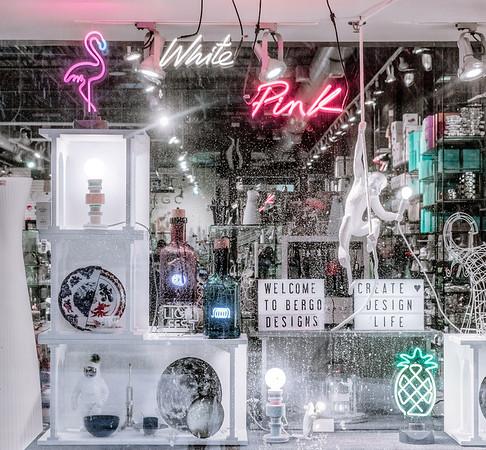Window display at the Bergo Designs shop in Distillery District in Toronto.