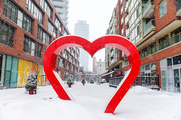 Heart installation in Toronto's Distillery District
