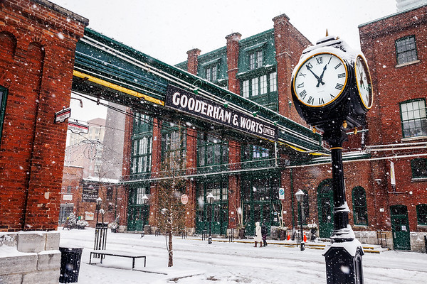 Snowfall in Toronto's Distillery District