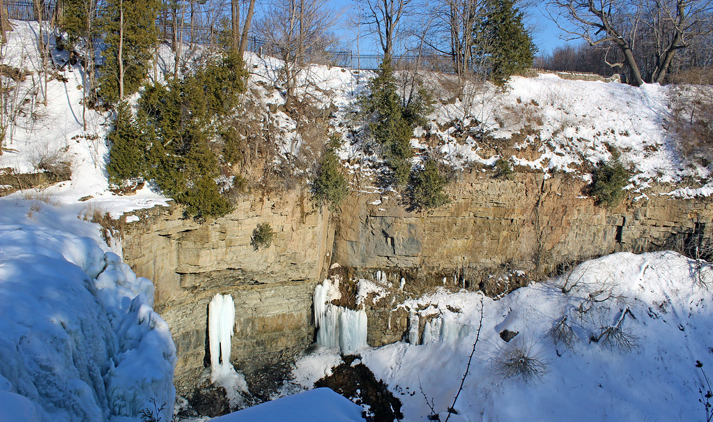 Dundas waterfalls frozen in the winter