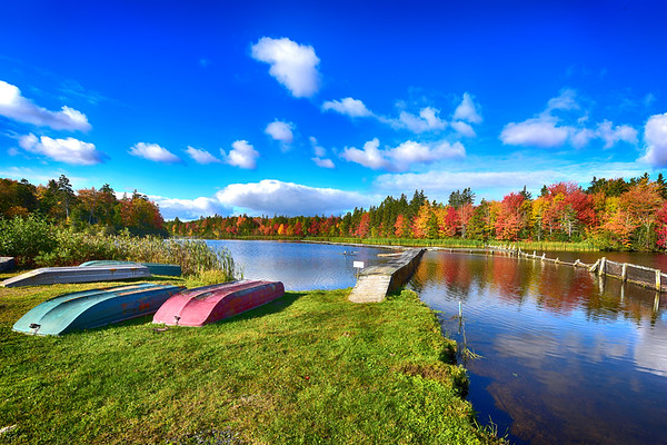 Pond and boats and fall colors in PEI