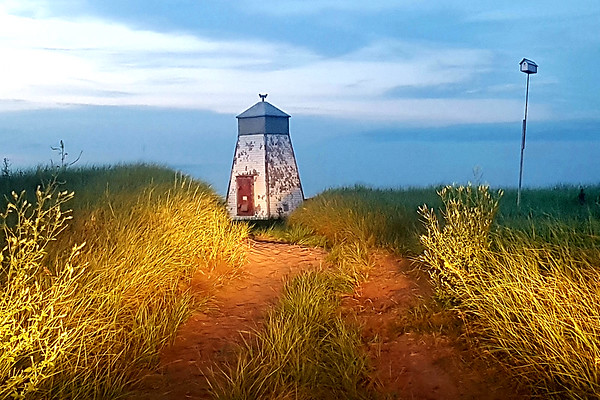 May 2019 - Beach Point Lighthouse Murray Harbour lit up by hedlights