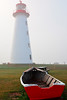 Prim Point Lighthouse and boat in Fog