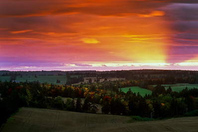 Sunset and autumn color near Glascow