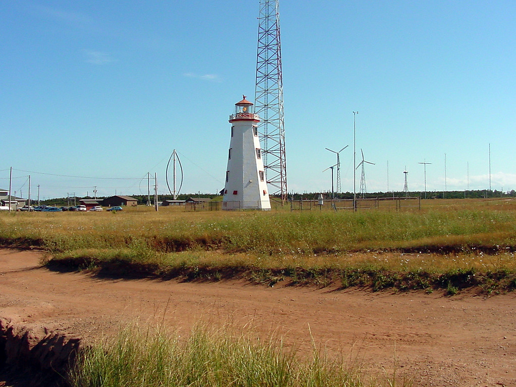Ligthouses abound on the PEI Coast, and wind turbines have been a ficture there since the 1970's.