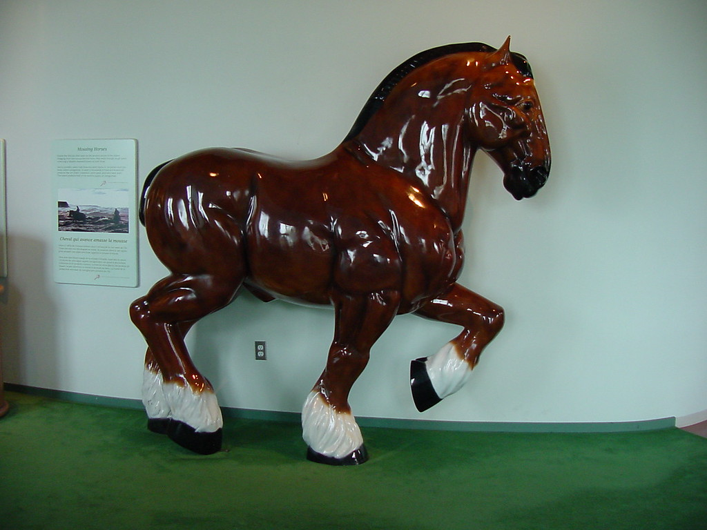A full sized Porcelain Horse sits at the Visotrds Centre just off the Brdge in PEI