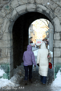 Heather and Emily meanding through the city wall - Quebec City, QC ... December 30, 2009 ... Photo by Rob Page III