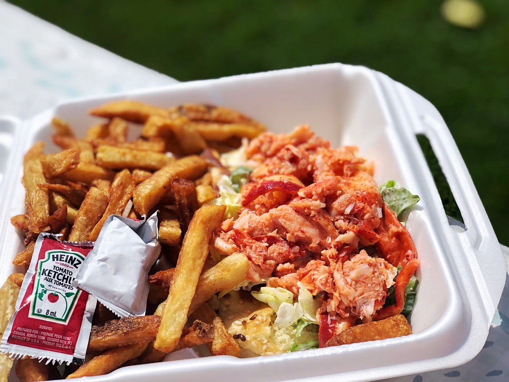 Succulent lobster roll from Casse-Croûte Chez Mag on Ile d'Orleans