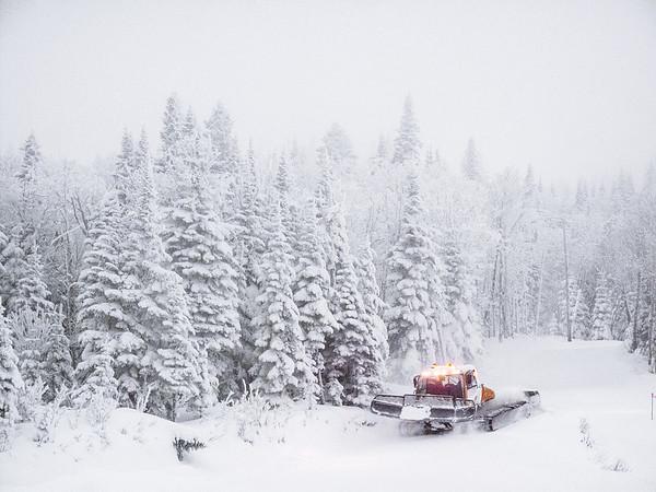 Ski resort snow plow in Charlevoix, Quebec