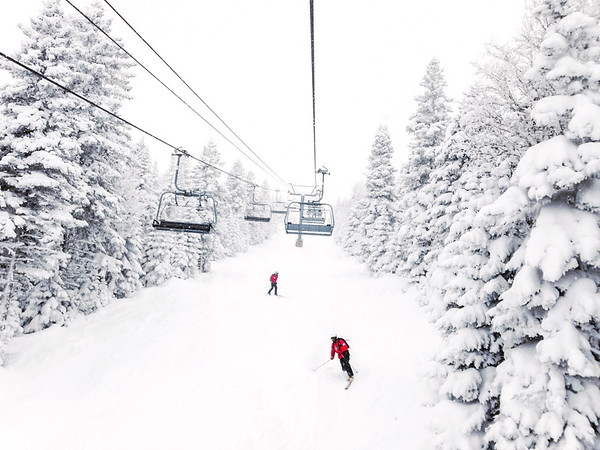 Skiing at Le Massif ski resort in Charlevoix, Quebec, Canada