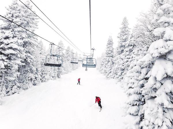 Skiing at Le Massif ski resort in Charlevoix, Quebec, Canada