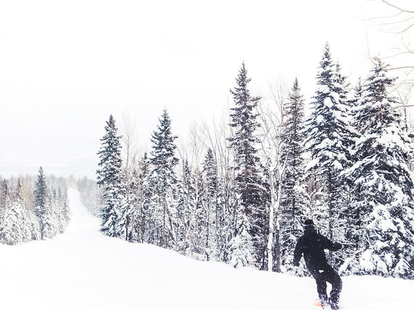 Snowboarding at Le Massif ski resort in Charlevoix, Quebec, Canada