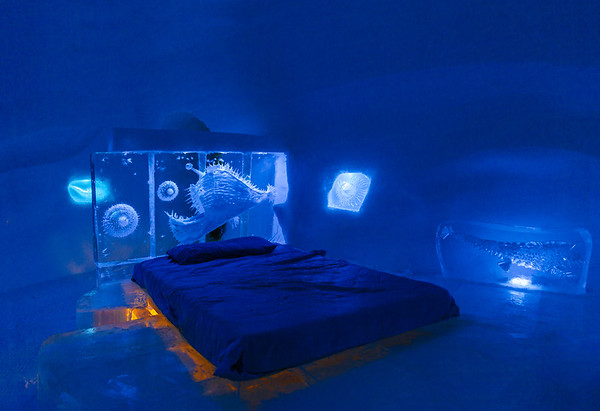 Room at the Ice Hotel in the Quebec City region is the only ice hotel in North America.