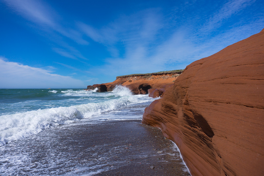 Red cliffs in Grand Entrée on Îles de la Madeleine