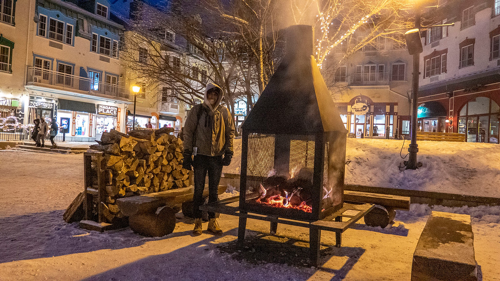 Outdoor fireplaces at Mont Tremblant in the winter