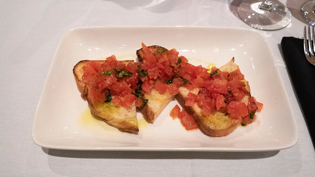 Bruschetta bread at Coco Pazzo Tremblant