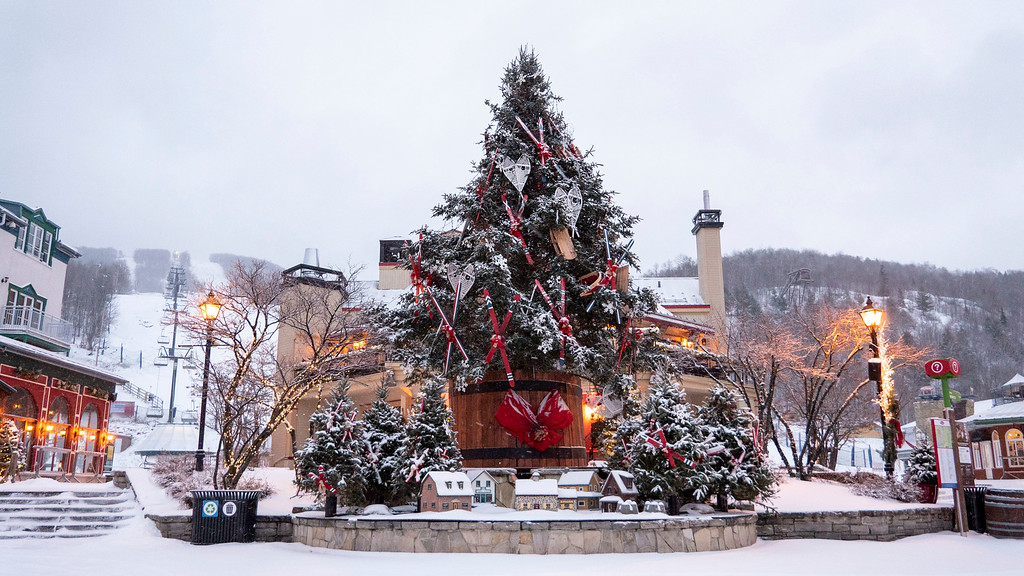 Mont Tremblant Christmas tree with tiny village houses beneath it