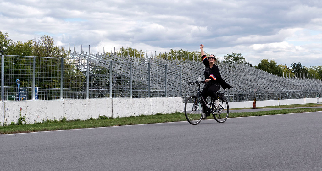 Bike riding on Circuit Gilles-Villeneuve in Montreal, the F1 race track