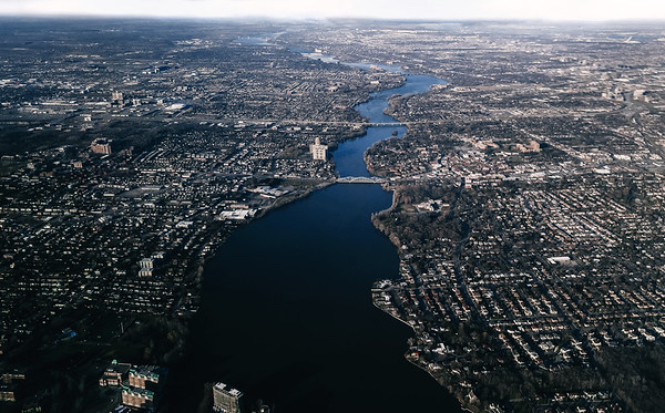 Aerial view of the Prairies River near Montreal, Quebec, Canada.