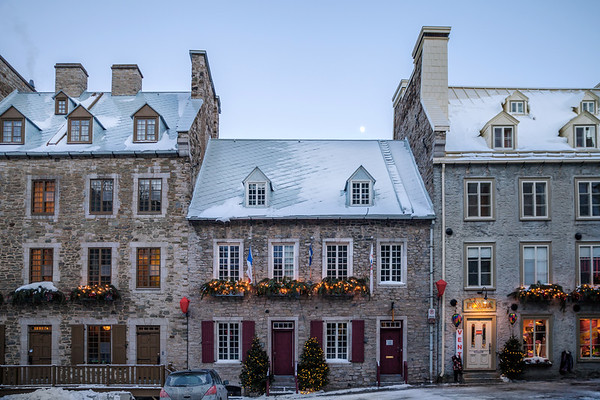 Architecture in Le Petit Champlain Quarter in Old Quebec City, Canada