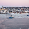 Ferry boats between Quebec City and Levis at dusk